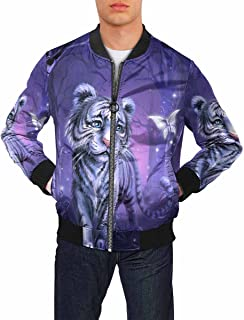 Tiger Mens Casual Jacket Zip Up Lightweight Bomber Jacket Softshell with Ribbing Edge (XS-2XL)