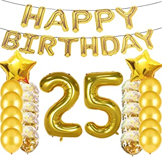 Sweet 25th Birthday Decorations Party Supplies,Gold Number 25 Balloons,25th Foil Mylar Balloons Latex Balloon Decoration,Great 25th Birthday Gifts for Girls,Women,Men,Photo Props