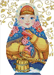 LoveinDIY Dimensions Counted Cross Stitch Kit Russian Dolls Needlecrafts for Children - 36 x 47cm 11CT