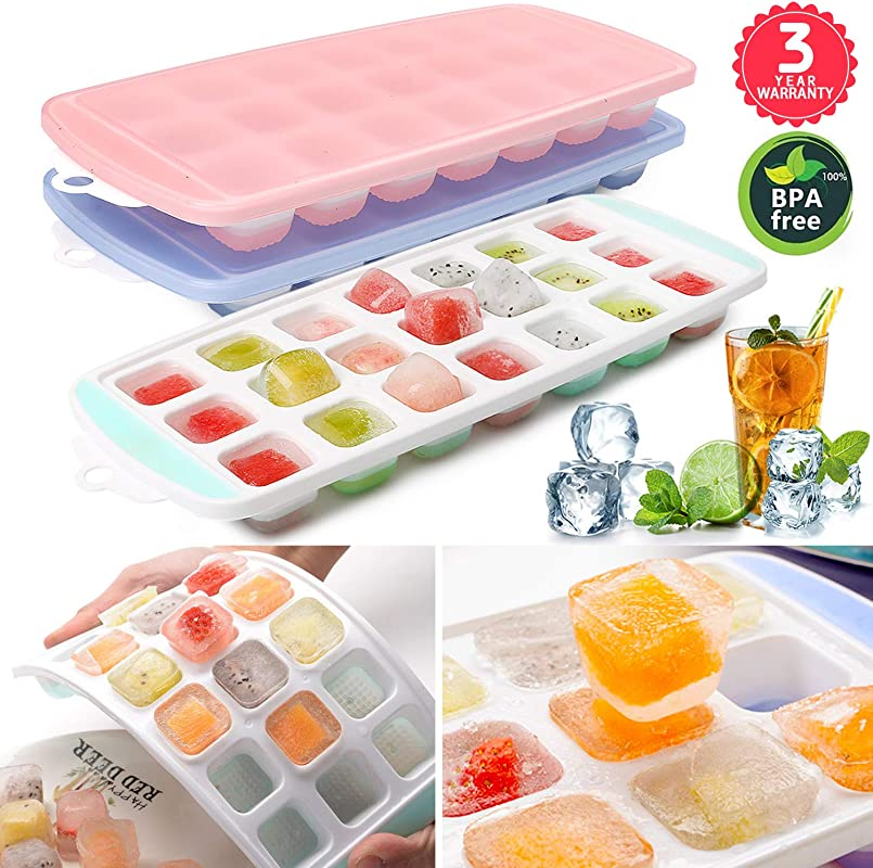 Ice Cube Trays 3 PACKS Food Grade Flexible Silicone Ice Trays Molds With Lids Easy Release Ice Trays Make 63 Ice Cube Stackable Dishwasher Safe Non Toxic BPA Free