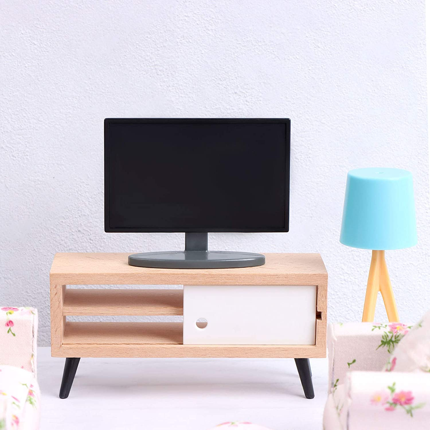 TV Sofa Bookcase Doll Pretend Play Accessories Living Room Model Handcraft Kit TV Cabinet Dollhouse Miniature Furniture Dollhouse Living Room Set Coffee Table