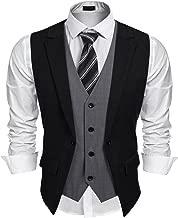 Coofandy Mens Formal Fashion Layered Vest Waistcoat Dress Suit Vests