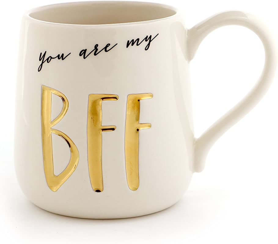 Enesco 6000523 Our Our Name Is Mud BFF Stoneware Engraved Coffee Mug 16 Oz Gold