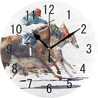 ChongXiFuShi Watercolor Racing Horse Round Wood Wall Clock for Home Decor Living Room Kitchen Bedroom Office School
