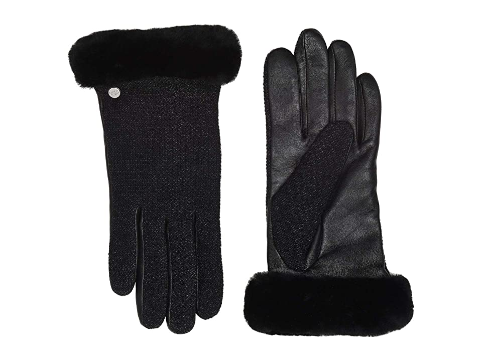 UGG Short Italian Wool Blend Tech Gloves with Long Pile Sheepskin Trim (Black) Extreme Cold Weather Gloves