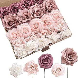 Ling's moment Artificial Wedding Flowers Combo Box Set for DIY Bouquets Centerpieces Floral Arrangements Decorations (Shabby Dusty Rose)