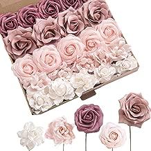 Ling's moment Artificial Flowers Blush Dusty Rose Foam Roses Gardenia Flowers Combo Box Set for Wedding Bouquets Centerpieces Floral Arrangements Decorations