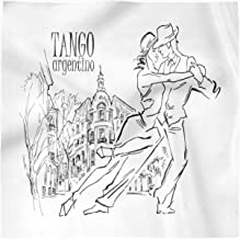Lunarable Argentina Decorative Satin Napkins Set of 4, Hand-Drawn Sketch of Tango Dancers with City Background Tango Argentino Text, Square Printed Fabric Party & Dinner Napkin, 12
