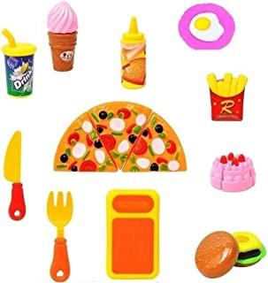 Nshiva Realistic 12 Pcs Velcro Sliceable Food Pizza Cutting Play Set Toy for Kids