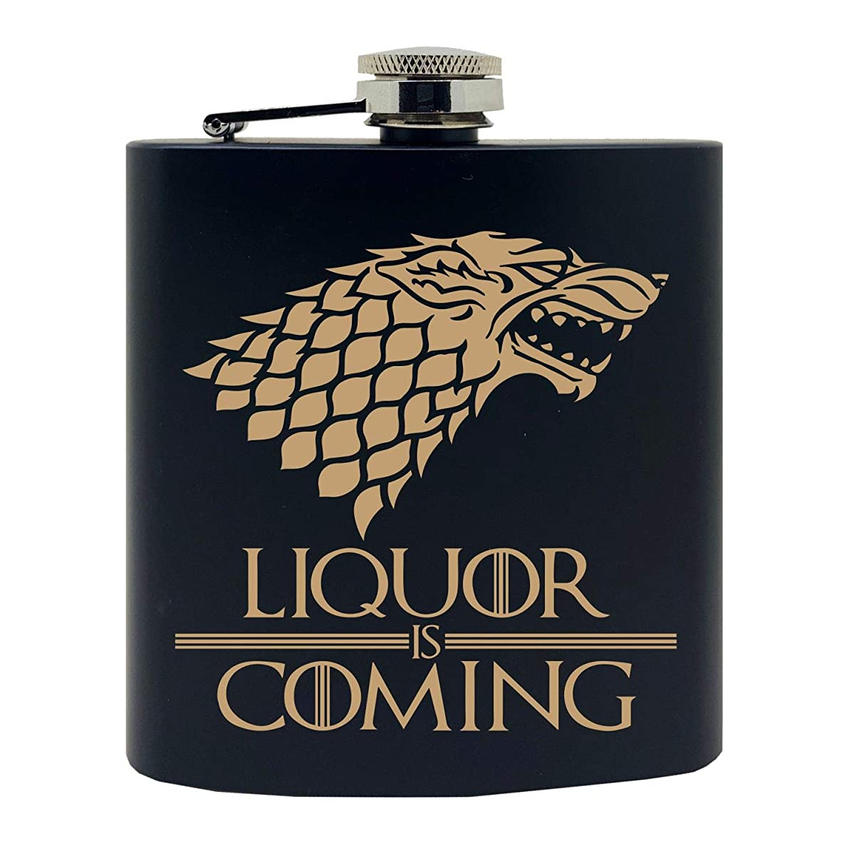 Liquor is Coming GoT Inspired Super Fan Gold Wolf Design Custom Printed Stainless Steel Alcohol Hip Flask, 6 Oz. Black