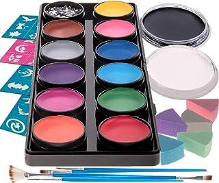 Best Face Paint Kit for Kids - 12 Large Washable Paints + 20ml Black/White, 30 Stencils, 5 Brushes Safe Facepainting for Sensitive Skin, Professional Quality Body & Facepaints Halloween Makeup Supplies Review