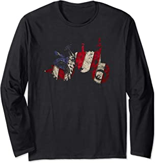 Funny distressed graphic patriotic american flag tractor Long Sleeve T-Shirt
