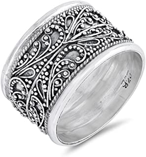 Handmade Wide Vintage Filigree Bali Bead Ring Sterling Silver Band Sizes 6-10