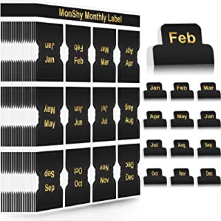 Large Amount Adhesive Monthly Tabs Monthly Planner Stickers Decorative Monthly Index Tab Designer Accessories for Office Study Planners Journal Organizations 240 Black
