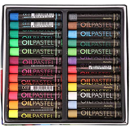 DEWIN 24 Pcs//Pack Fluorescent Oil Pastel,Metallic Mixing Coloured was Chalk Oil Painting Tool for Students Kids Artists