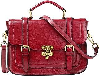 Leathario Damen Echtleder Umhängetasche Schultertasche Henkeltasche Handtasche Damentasche Vintage Retro