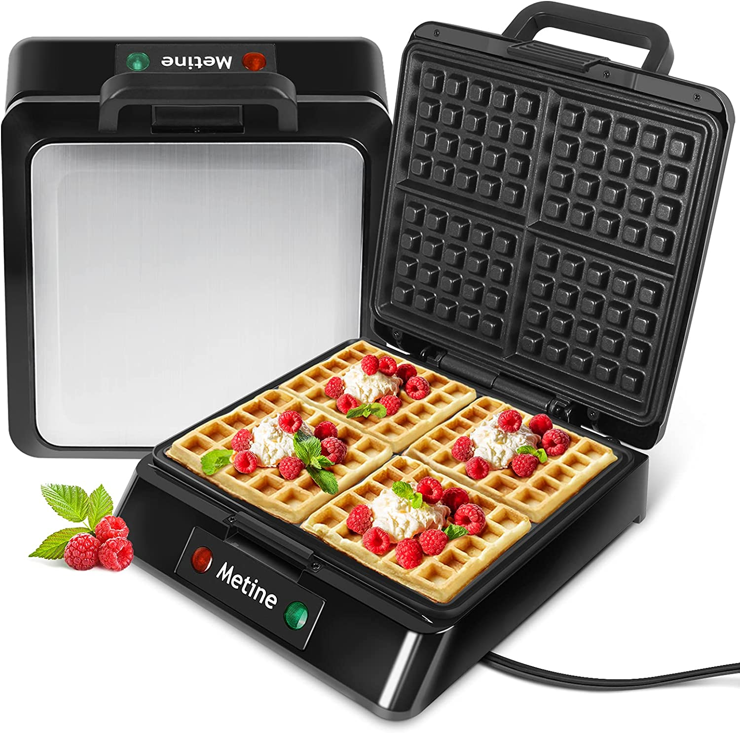 Metine Waffle Maker Regular discount Irons Sales w Waffles Slice Square 4 Large