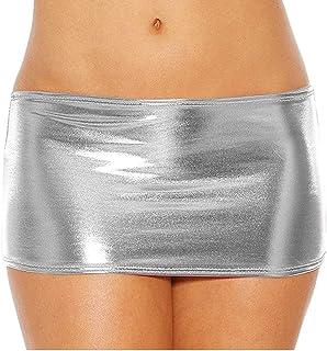 FINE STITCHING Women's Spandex Faux Leather Shiny Metallic Micro Mini Skirt Dress G-String Clubwear Sexy Skirt Dress