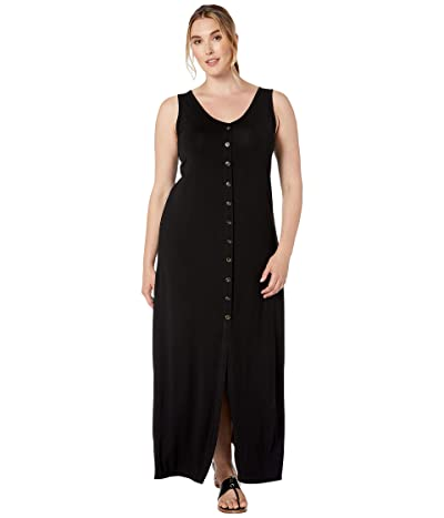 Karen Kane Plus Plus Size Button Up Alana Maxi Dress (Black) Women