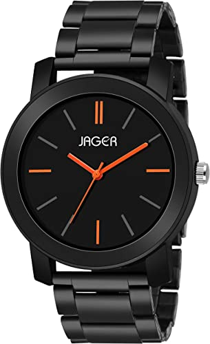 JAGER Analogue Men S Watch Black Dial Black Colored Strap