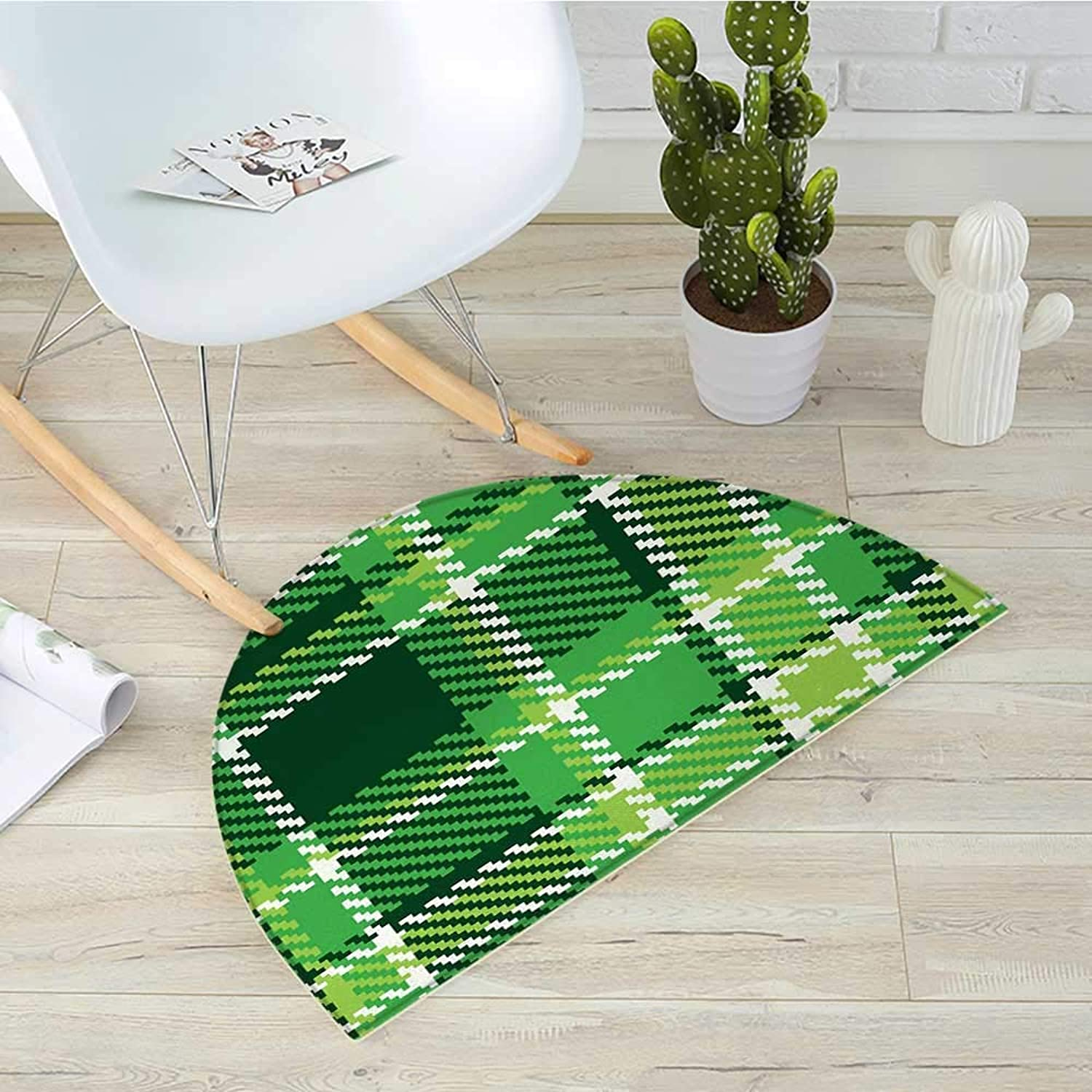 Checkered Semicircle Doormat Old Fashioned Irish British Tile Mosaic in Vibrant Green colors Halfmoon doormats H 27.5  xD 41.3  Emerald Lime Green White