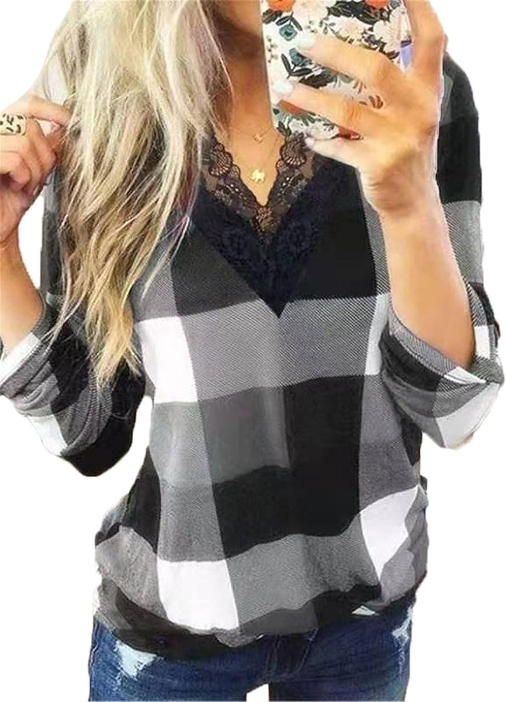 Andongnywell Women's Grey Casual Plaid Printed Tunic Short Sleeve Lace V-Neck Hem Blouse t Shirts