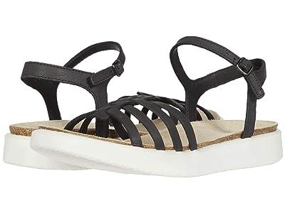 ECCO Corksphere Ankle Strap Sandal (Black Cow Nubuck) Women