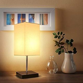 Tomshine Lámpara de Mesa Lámpara Mesita de Noche Madera maciza minimalista y Pantalla de telaperfecto para Dormitorio S...