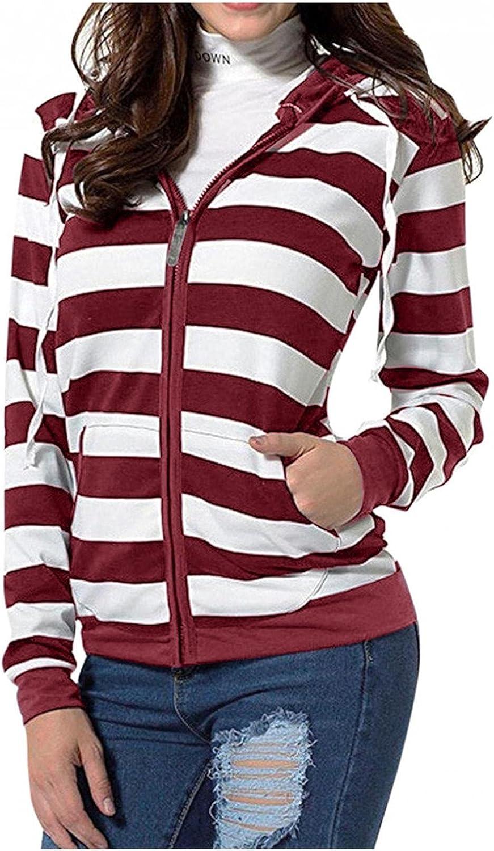 Womens Hoodies, Women Casual Stripe Prints Long Sleeve Full Zip up Lightweight Tops Shirts with Zipper Tops