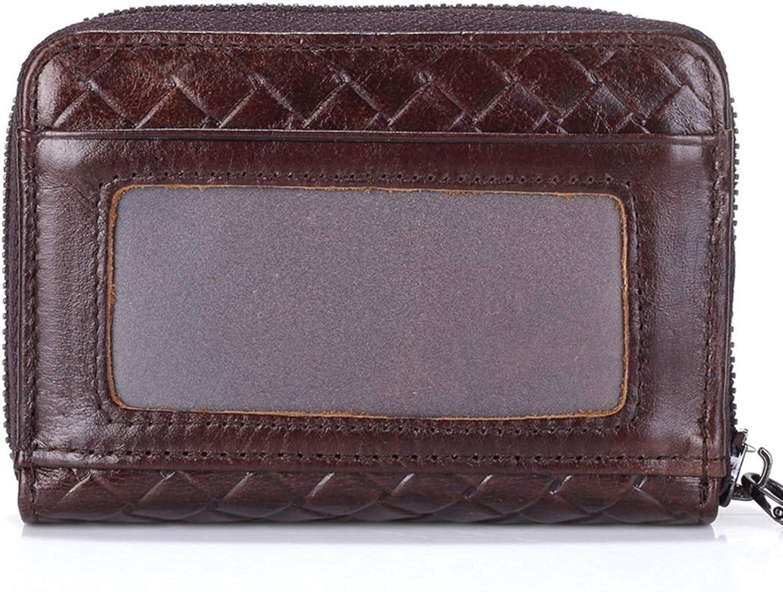 Professional Bag Leather Wax Oil Restoring Ancient Ways Men and Women General Minimalist Wallet Photo A Zipper Bag Zero Wallet More Screens. Outdoor Travel Essentials (color   Brown Embossing)