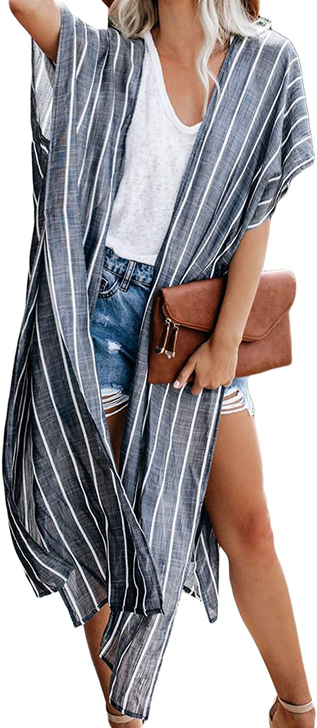 Dokotoo Womens Fashion Print Kimono Cardigans Tassel Casual Beach Cover Up Loose Bathing Suit Cover ups