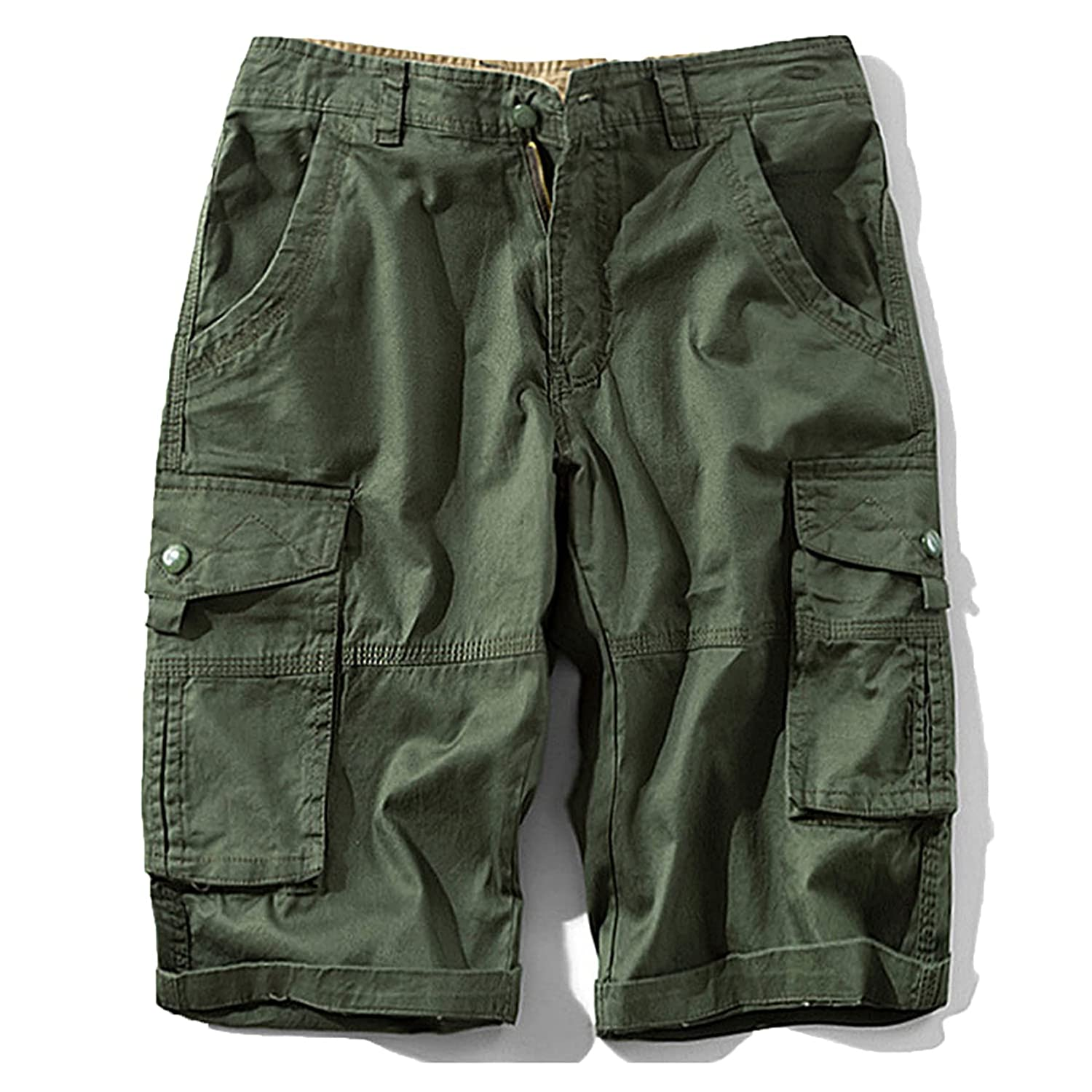 Men's Camo Cargo Shorts Mens Camouflage Multi-Pocket Cargo Shorts Relaxed Fit Casual Shorts Outdoor Twill Cargo Shorts (36,Green)