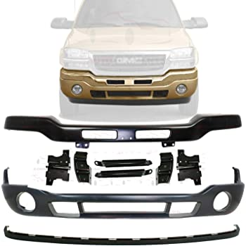 New Front Bumper Chrome Steel w//Brackets Lower Cover Primed Fog Light RH /& LH For 2003-2006 GMC Sierra 1500 2500 3500 Direct Replacement 12335963 88979837 15098990-PFM