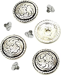 """4 Pack Set, 3/4"""" Antiqued Silver Western Saddle Bright Concho With 1/4"""" Screw Back-Belt Concho-Leather Fastener Concho- Conchos"""