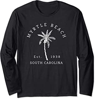 Fun Myrtle Beach SC Beach Novelty Palm Tree Graphic Art Long Sleeve T-Shirt