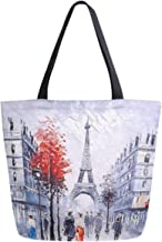 ZzWwR Stylish Paris Street Eiffel Tower Painting Print Extra Large Canvas Market Beach Travel Reusable Grocery Shopping Tote Bag Portable Storage HandBags