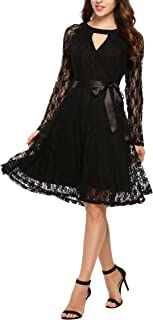 Zeagoo Women's Long Sleeves V-Neck Midi Formal Cocktail Party Wrap Lace Dress