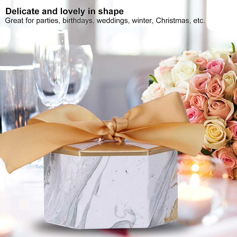#1 Scatola Regalo Multicolore Matrimonio Esagonale Festa di Compleanno con Souvenir Piccoli Dolci Freschi Biscotti Snack Decorazione Nastro per Amante