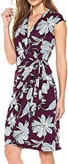 Lark & Ro Women's Dress Purple US Size Large L Floral Printed True Wrap