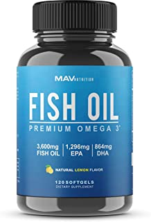 Premium Fish Oil Omega 3 - Max Potency - 3,600mg + 1,296mg Epa + 864mg DHA + Immune Support + Heart & Brain Health + Joint & Skin Support + Burpless + Natural Lemon Flavor, 120 Capsules per Serving