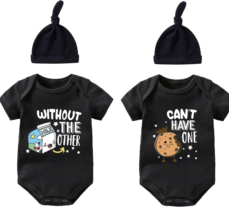 YSCULBUTOL Baby Twins Nashville-Davidson Mall Bodysuits Milk Ranking TOP6 Cookie Infant Newborn