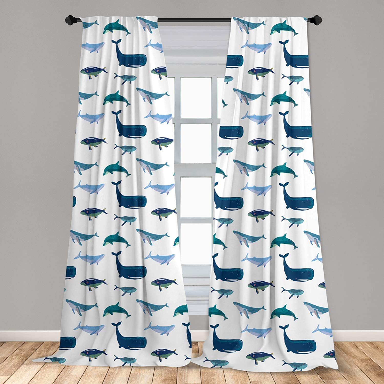 Ambesonne Whale 2 Panel Curtain Set Different Types Of Swimming Marine Characters In Hand Drawn Style Nautical Lightweight Window Treatment Living Room Bedroom Decor 56 X 63 Teal Dark Blue White
