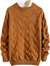 Opinionated Mens Cable Knit Pullover Sweater Long Sleeve Crew Neck Casual Winter Warm Knitted Sweater