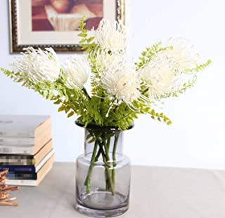 Skyseen 5PCS Artificial Pincushion Flower Fake Leucospermum Simulation Tropical Protea Cynaroides Plant,White