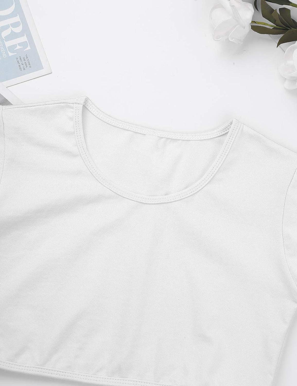 Kaerm Big Girls Short Sleeve Crew Neck Crop Top Ballet Dance/Gymnastics/Workout/Running Activewear Dancewear