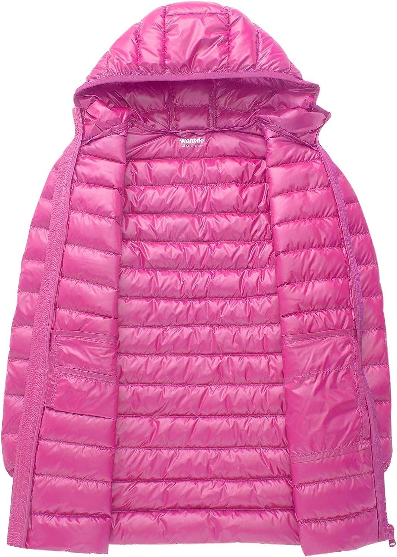 Wantdo Girls Long Lightweight Hood Down Jacket Packable Winter Coat