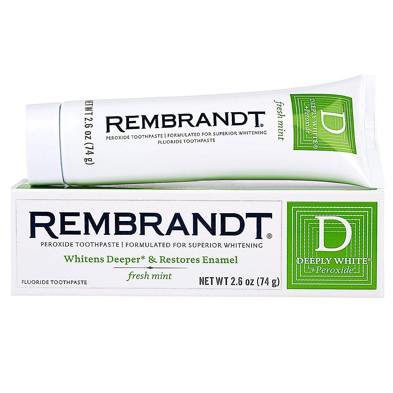 ヘリコプターずっと北Rembrandt フッ化物に深くホワイト+過酸化物ホワイトニング歯磨き、フレッシュミント2.6オンス(8パック)
