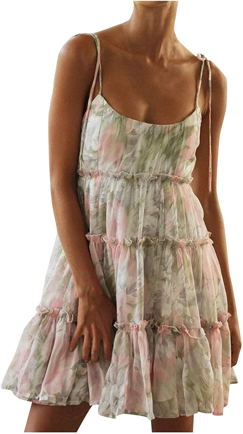 Women's Casual Comfortable Halter Small Floral Mesh Beach Resort Dress Best Gift for Women and Girls