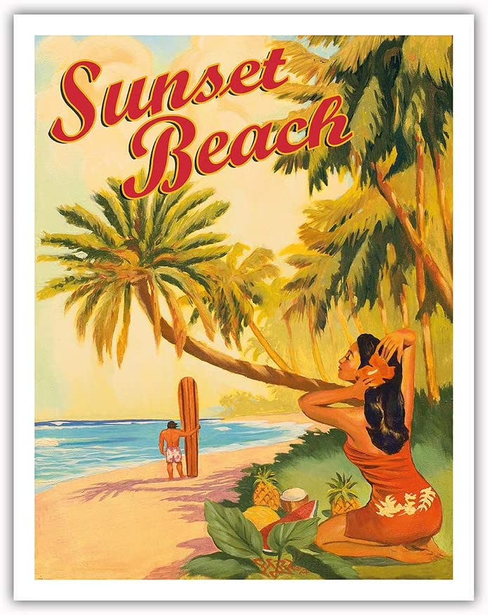 Sunset Beach Hawaii Oahu North Shore Surfer Vintage Hawaiian Travel Poster By Rick Sharp Master Art Print 9in X 12in Posters Prints