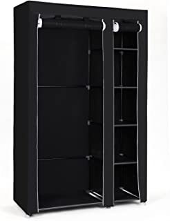 SONGMICS Armoire de Rangement, Penderie de vêtement Pliable en Tissu Non-tissé, 110 x 45 x 175 cm, Noir LSF007